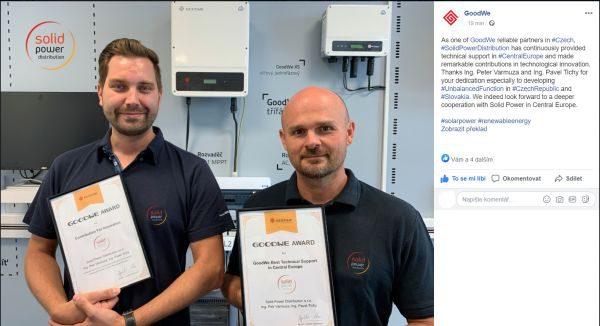 GoodWe ocenilo českého distributora Solid Power Distribution za technologický přínos pro rozvoj FV branže