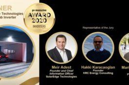 SolarEdge získala prestižní cenu PV Magazine Award 2020 za vývoj inovativních fotovoltaických technologií